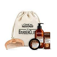 L'Oreal Men Expert Premium Barber Coffret im Stoffbeutel, 3-in-1 Bartshampoo (200 ml), Bartöl (30 ml), Bart Styling Pomade (75 ml) und gratis Bartkamm