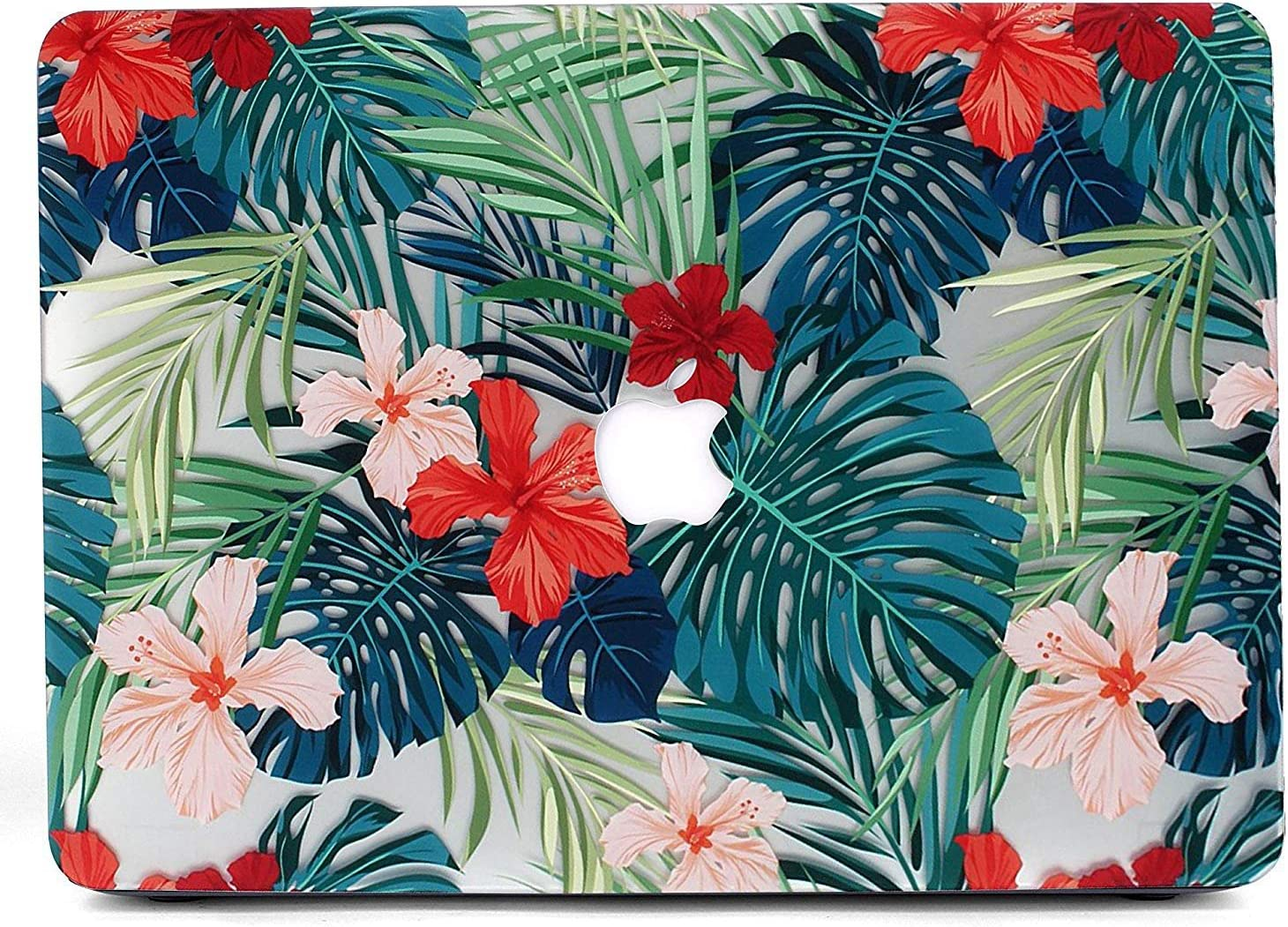 Case for L2W MacBook Air 13, Matte Print Tropical Palm Leaves Pattern Coated PC Hard Protective Case Cover Compatible with MacBook Air 13 inch (Model: A1369 and A1466) - Palm Leaves & Red Flowers