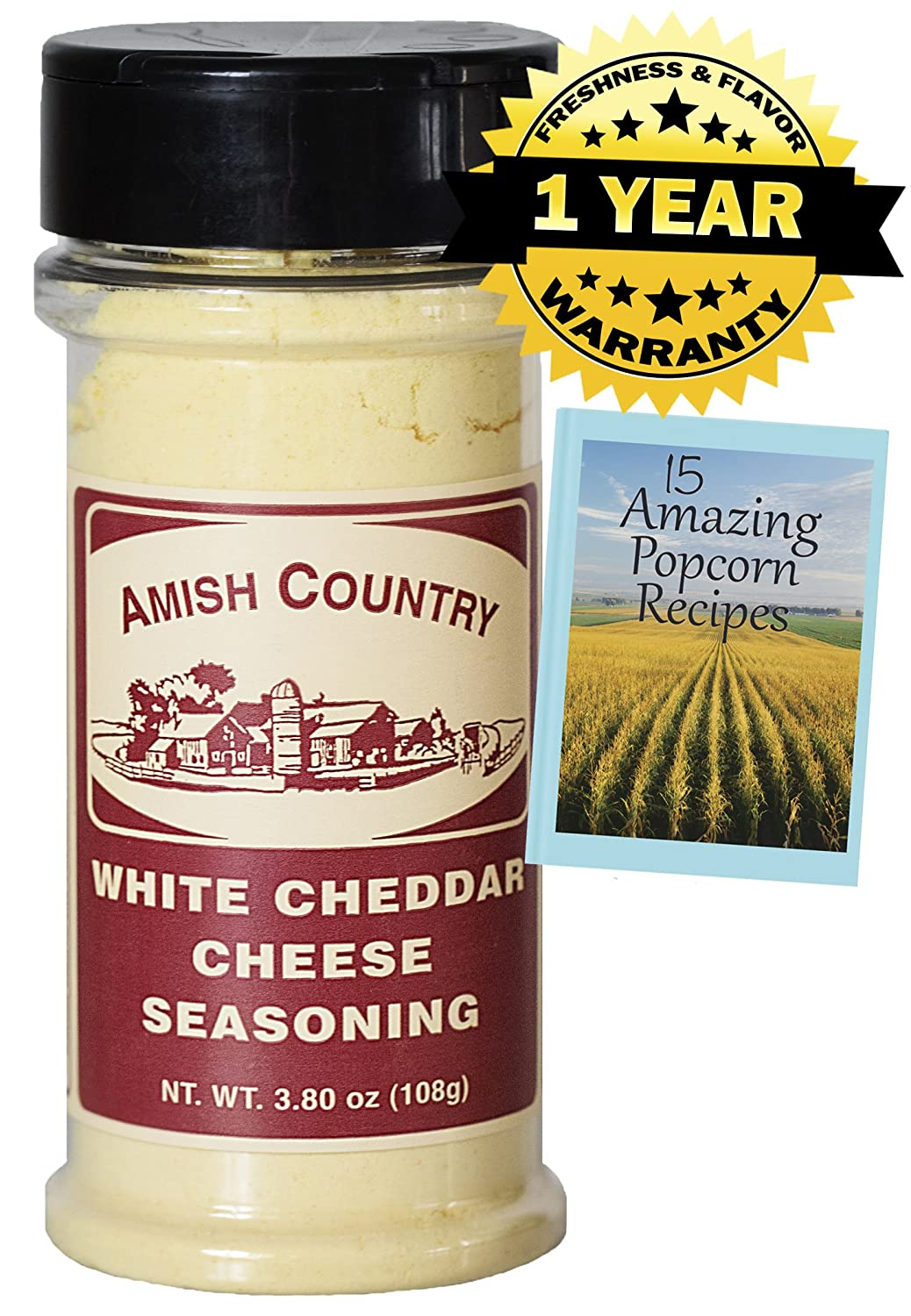 Amazon.com : Amish Country Popcorn - White Cheddar Cheese (3.8 Ounce) Popcorn Seasoning - Old Fashioned with Recipe Guide & 1 Year Freshness Guarantee ...