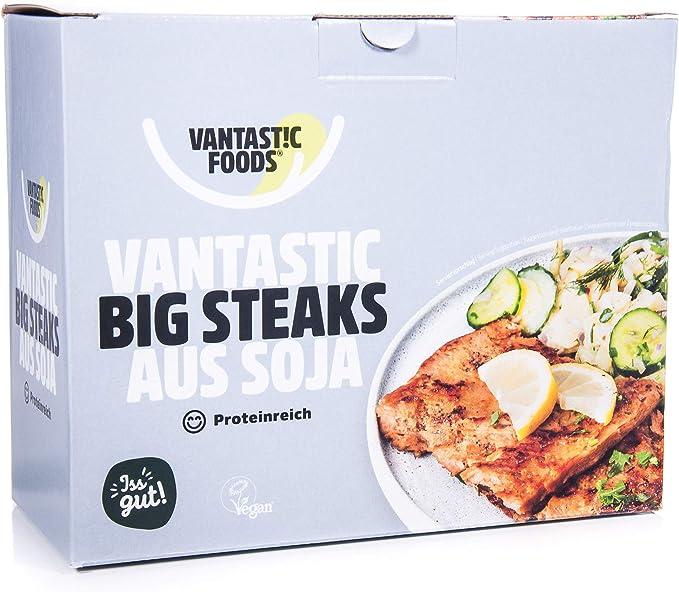 Vantastic Foods Soja Big Steaks - Set de carne vegana (sin gluten, 500 g)