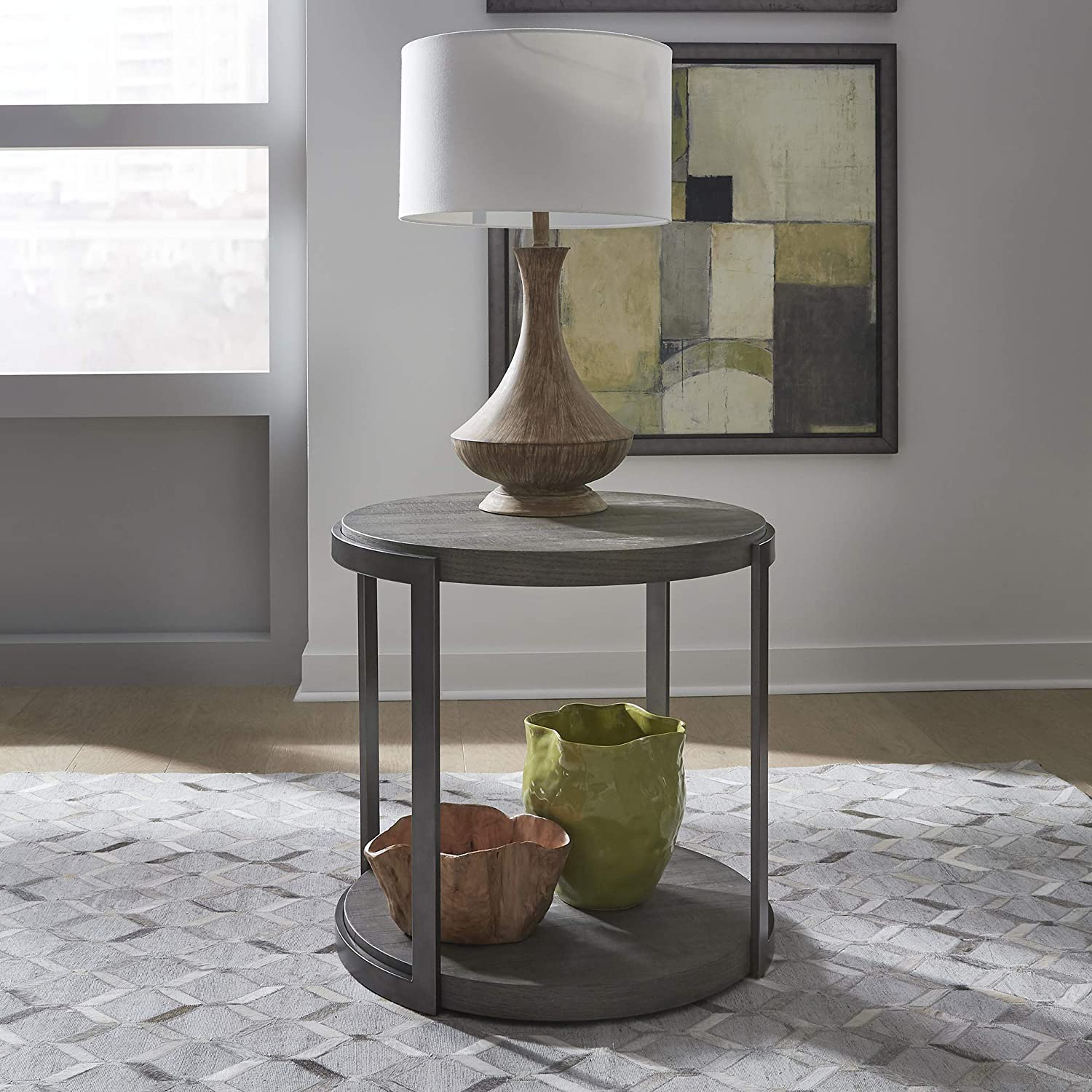 Liberty Furniture Industries 960-OT1020 Modern View Round End Table, W25 x D24 x H24, Gray