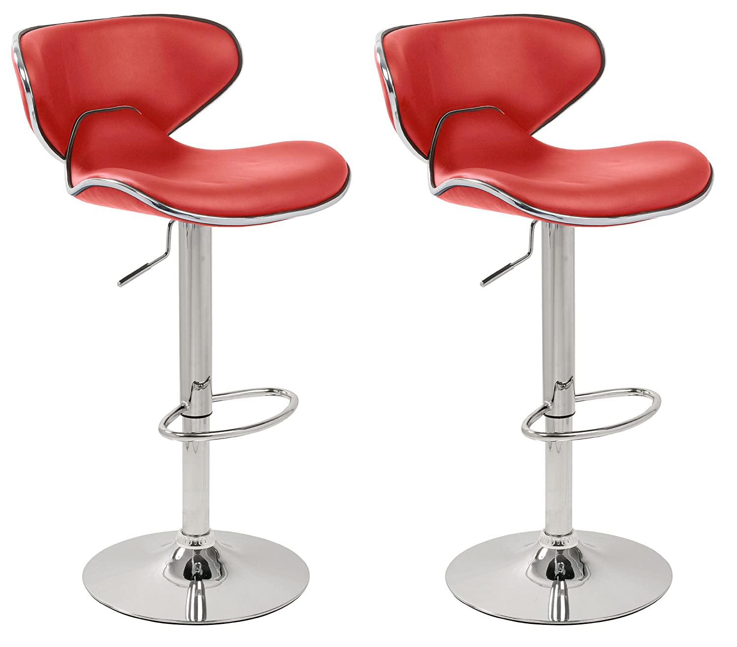 Set Of 2 Red U0026 Chrome Bahama Kitchen / Bar Stools. (Pair): Amazon.co.uk:  Kitchen U0026 Home