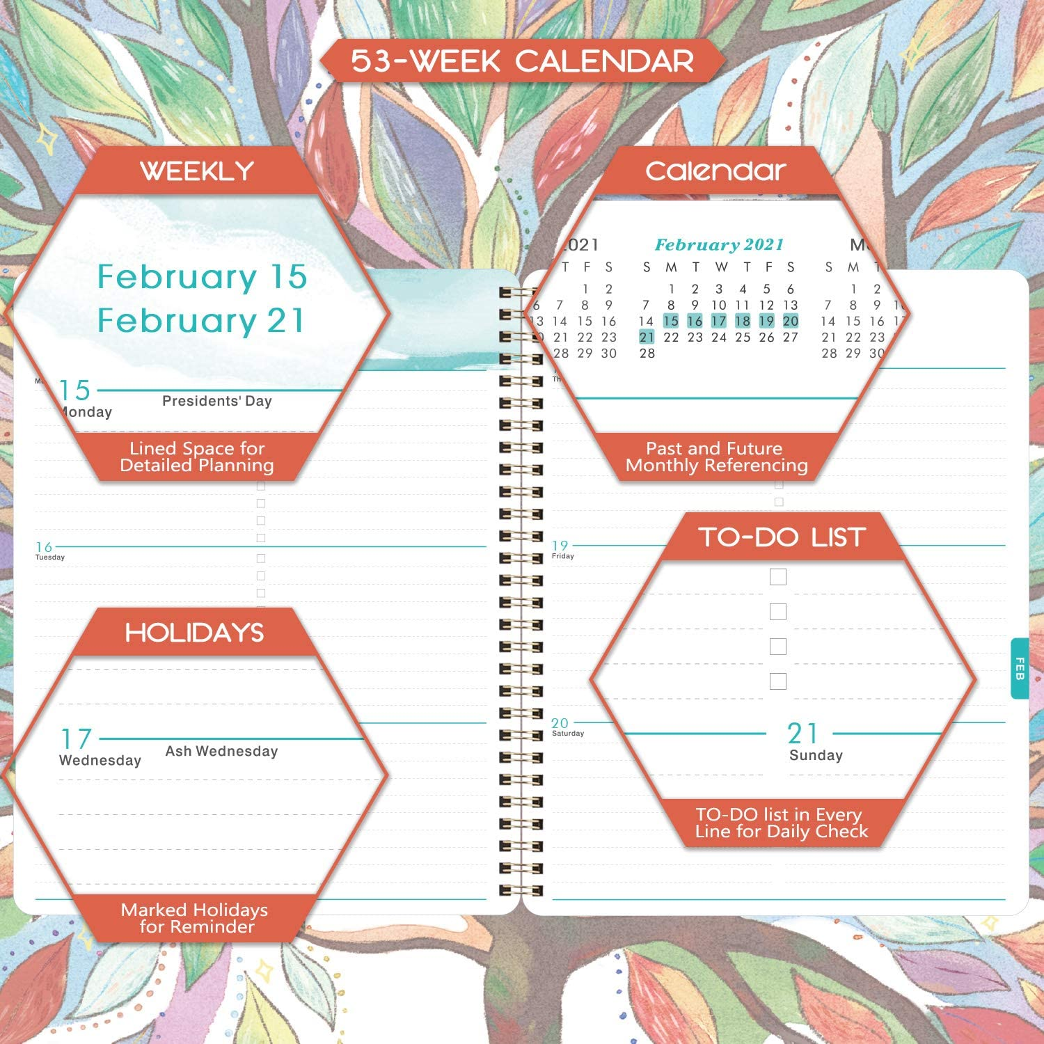 Hardcover with Back Pocket Banded June 2021 Academic Weekly /& Monthly Planner with Tabs Watercolor Tree Thick Paper 6.5 x 8.5 Twin-Wire Binding July 2020 Planner 2020-2021