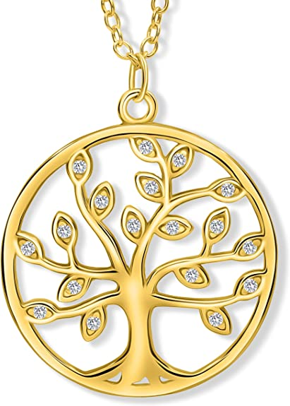 Lebensbaum Anhänger Baum des Lebens Lebensbaumkette Edelstahl Damen Schmuck