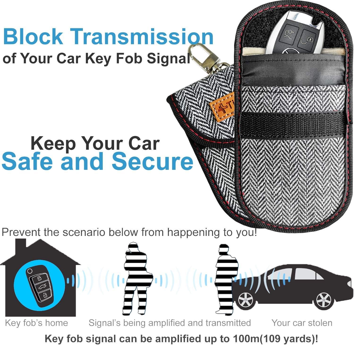 Anti-Theft Pouch Upgraded Car Key Case Faraday Cage Car Key Protector ? RFID Signal Blocking Anti-Hacking Case Blocker