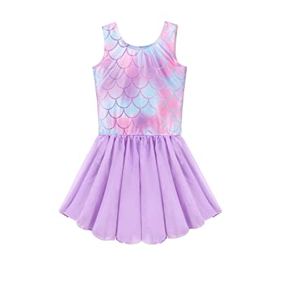 Skirted Leotards for Girls Gymnastics Dance Ballet Toddlers Chiffon Skirt Sparkly Unicorn Rainbow Dinosaur Mermaid Dress