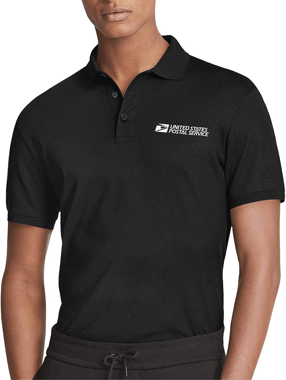 Men's White-United-States-Postal-Service Logo Golf Black Polo T-Shirts Tee Jersey