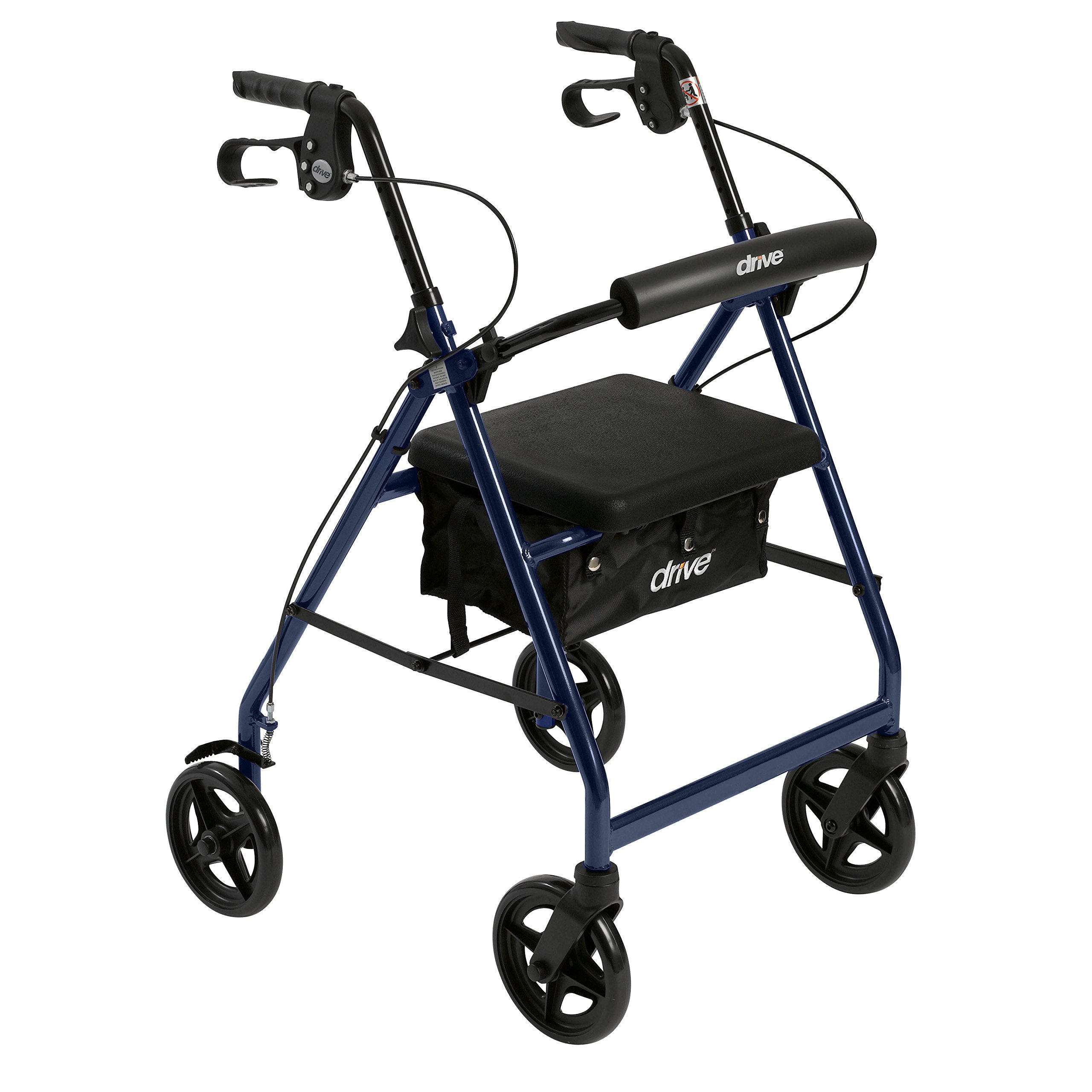 Drive Medical Aluminum Rollator Fold Up and Removable Back Support, Padded Seat with 7.5-Inch Casters, Blue