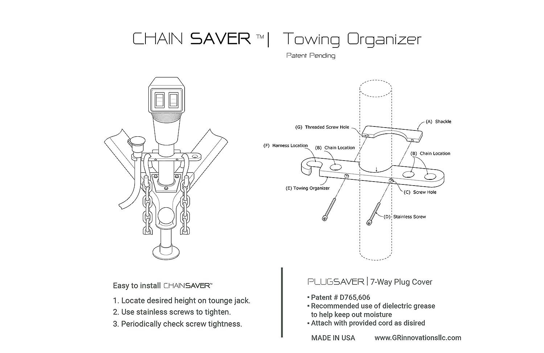amazon com tongue jack trailer towing organizer plastic chain