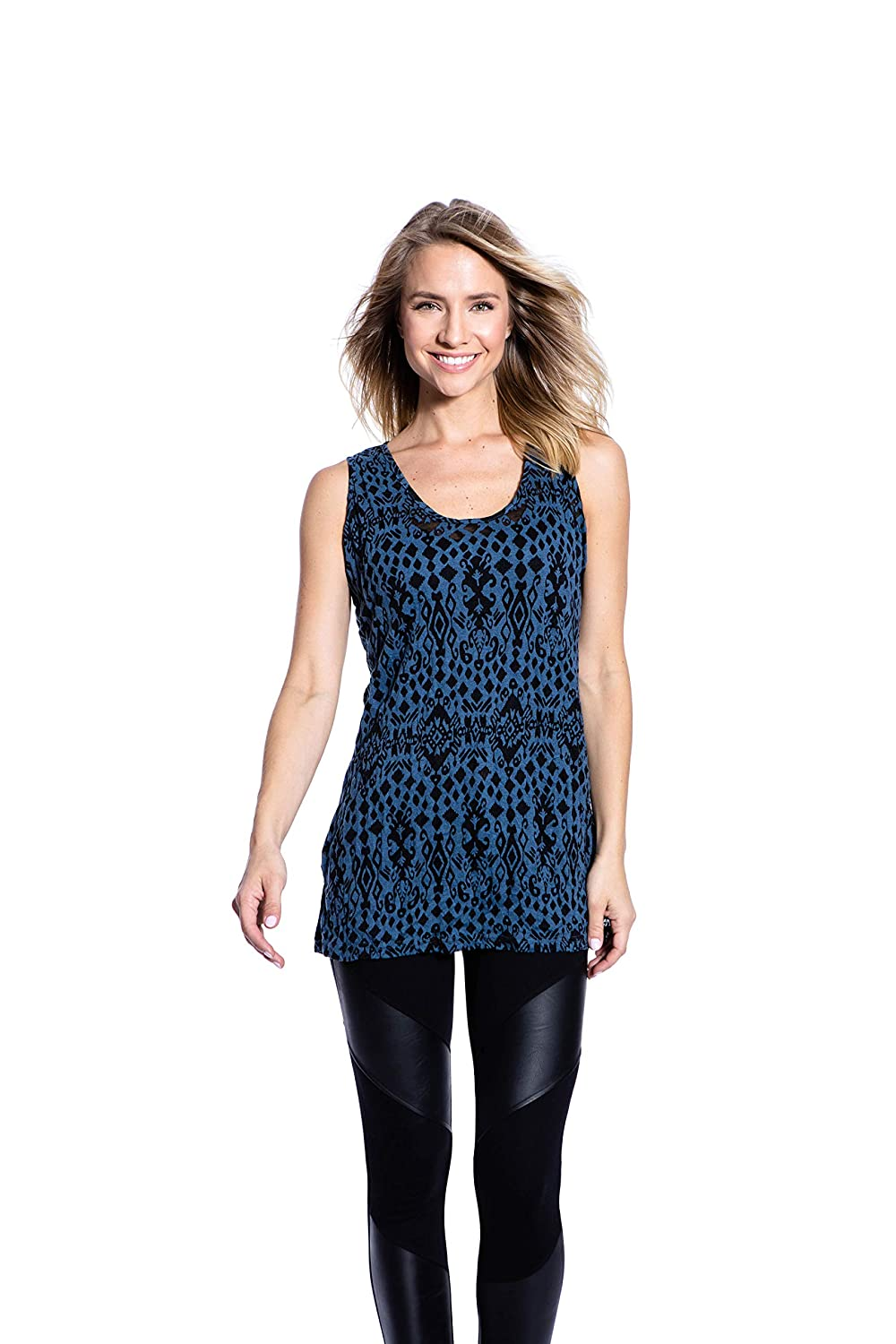 Pleats Collection Crinkle Knit Womens Long Casual Tank Top