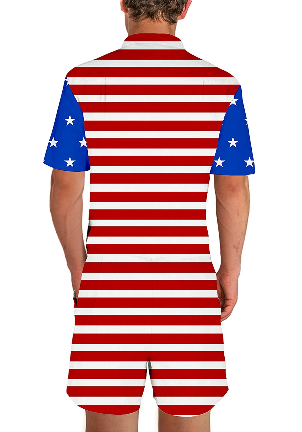 ba69ba8b0f96 uideazone Men s Casual Short Sleeve Fourth of July Jumpsuit Rompers  Overalls Button Down Blouse Shirt with Pockets  Amazon.co.uk  Clothing