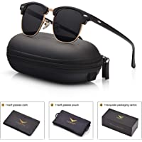 LUENX Mens Clubmaster Sunglasses Polarized Womens UV 400 Protection 51MM with Case