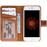 Burkley Case Detachable Leather Wallet Case for Apple iPhone 8 / 7 with Magnetic Closure and Snap-on | Book Style Cover with Card Holders and Kickstand in a Gift Box | Burnished Tan