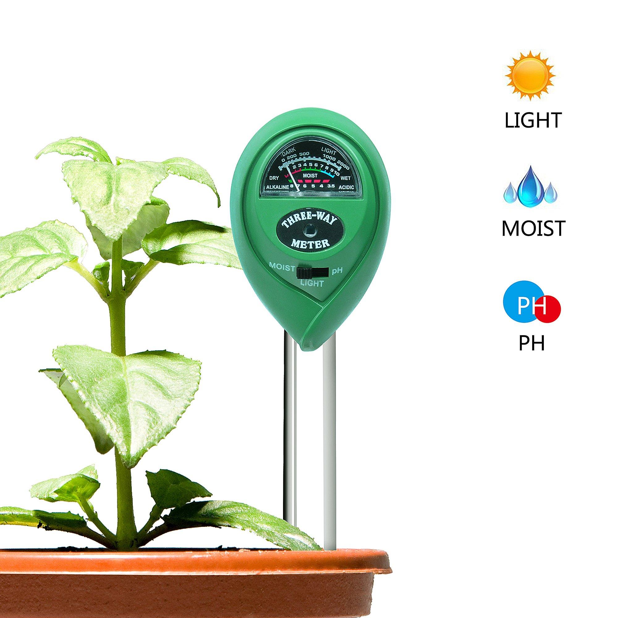 Locus Soil PH Meter, Light PH Tester, 3-in-1 Soil Moisture Meter, Soil Meter Indoor Outdoor Garden, Farm, Lawn, (No Battery Needed)