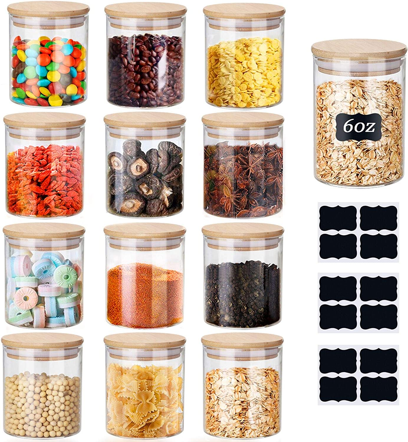Glass Jars Set, Yibaodan 12 Set 6oz Spice Jars with Bamboo Airtight Lids and Labels, Food Cereal Storage Containers for Home Kitchen Tea Herbs Pasta Coffee Flour Herbs Grains