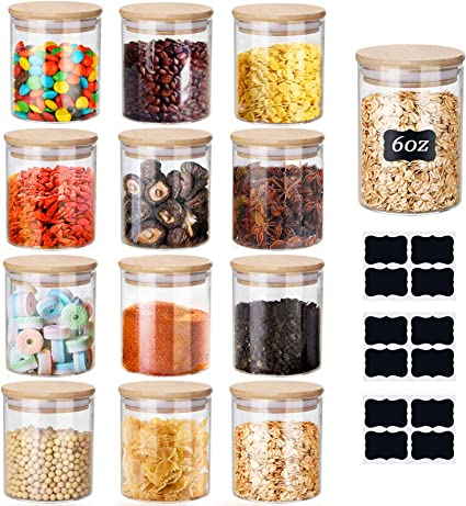12 Set Glass Jars Set 150ml ,Yibaodan Upgrade Spice Jars with Bamboo Airtight Lids and Labels, 6oz Small Food Cereal Storage Containers for Home Kitchen Tea Herbs Pasta Coffee Flour Herbs Grains: Amazon.co.uk: DIY & Tools