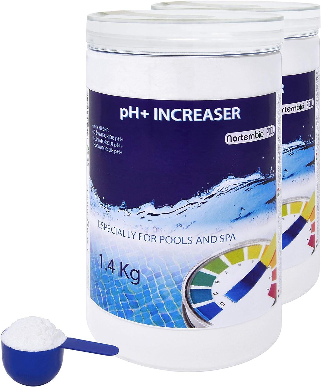 Nortembio Pool pH+ Plus 2x1,4 Kg, Elevador Natural pH+ para Piscina y SPA. Mejora la Calidad del Agua, Regulador pH, Beneficioso para la Salud. Producto CE.