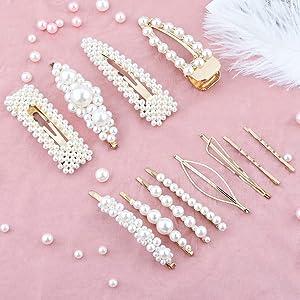 Makone Pelo Perla Artificiales Pinzas Mujeres(12PCS),Utilizado Para la Fiesta de Bodas de la Novia de Dama de Honor Té de la Tarde