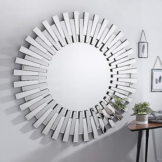 Furniturebox Uk Starburst Small Large Silver Stylish 3d Circular Round Modern Living Room Bedroom Wall Mirror 120cmx120cm Amazon Co Uk Kitchen Home