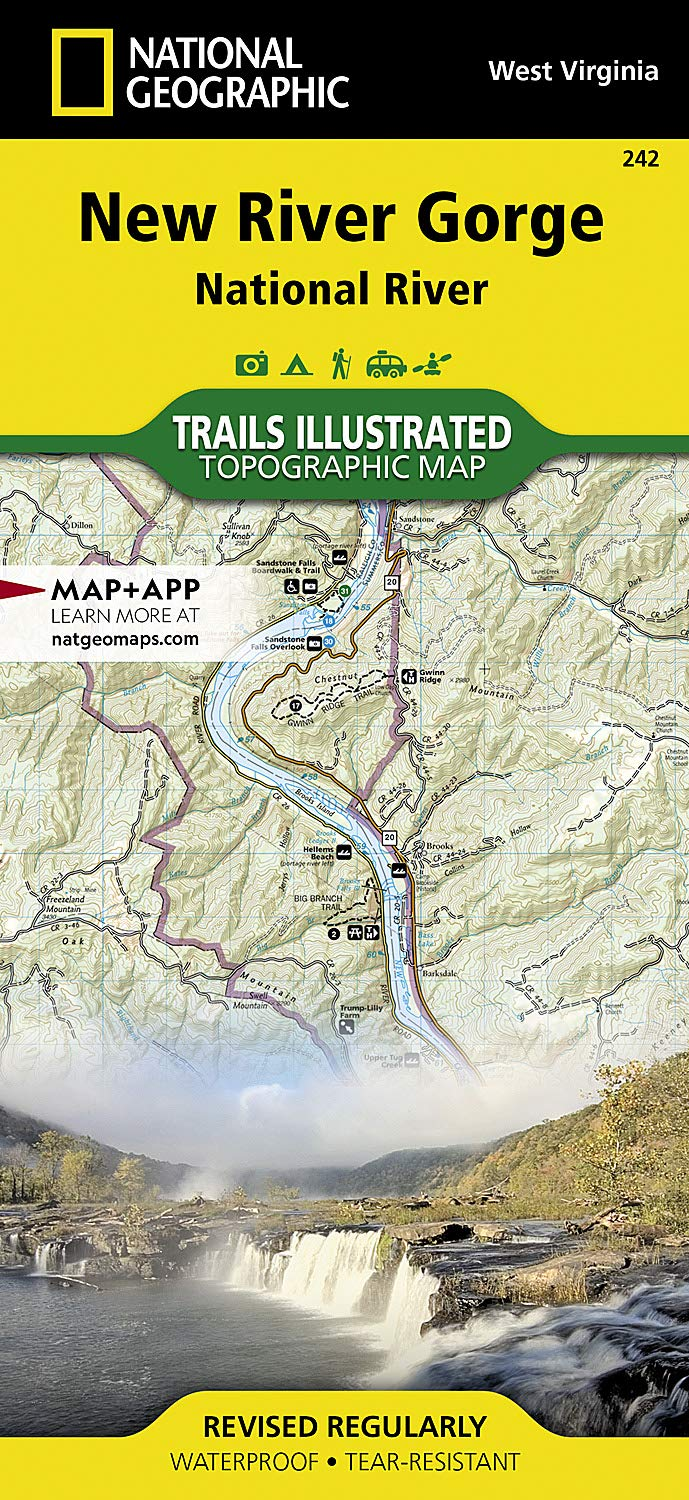 Red River Gorge Topographic Map.New River Gorge National River National Geographic Trails