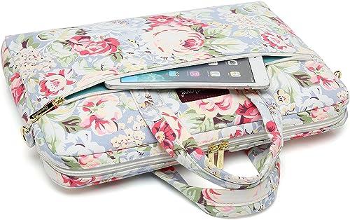 Canvaslove wasserabweisende Laptop Umhangetasche Messenger Tasche Aktentasche mit starkem Ruckprallschutz Blau Grose Rose 14 inch 15 6 inch Macbook Pro 15