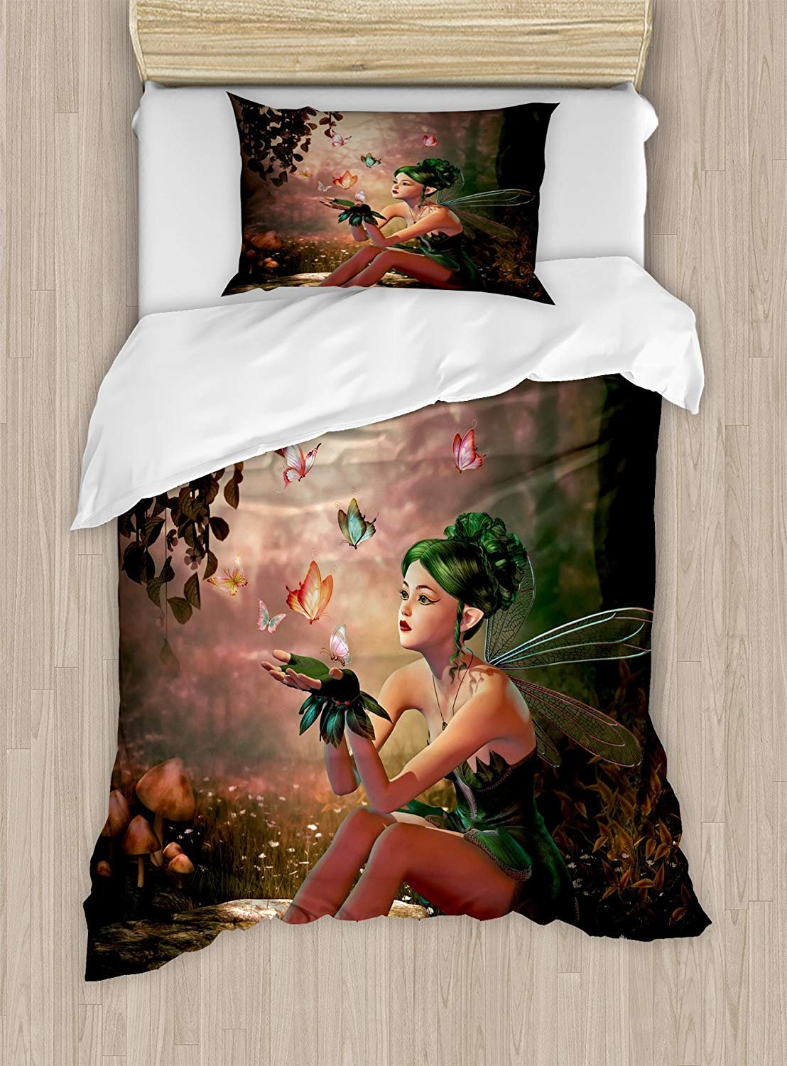 Fairy Duvet Cover Set,Girl with Wings and Butterflies Digital Composition Computer Graphics Elven Creature,Cosy House Collection 4 Piece Bedding Sets