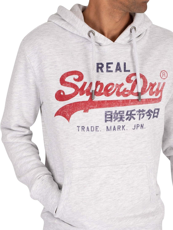 Superdry Herren Vl Premium Goods Hood Sweatshirt Weiß (Ice Marl 54g)
