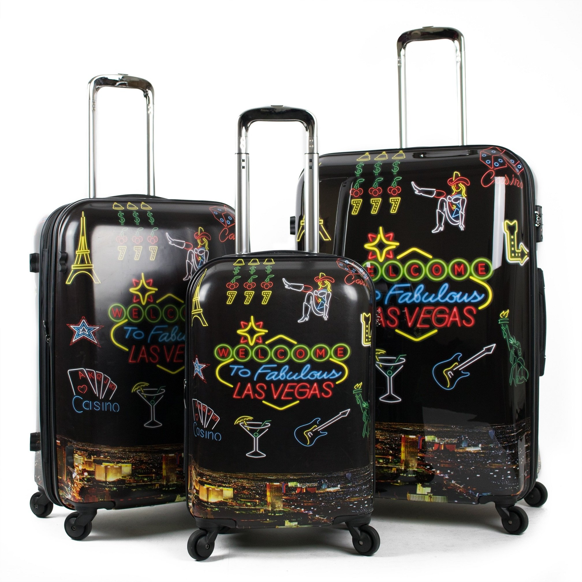 3 Piece Fabulous Las Vegas Motif Spinner Lightweight Carry On Luggage Set Suitcases, Wine Glass Lights Music Casino, Fashion, Hardside, Hardshell, Multi Compartment, Handle Travel Cases, Black, Yellow by S & E