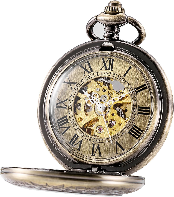 Tree weto Unisex Reloj de Bolsillo con Cadena Analog Cuerda Manual Antiguo Esqueleto Lupa Diseño Bronce