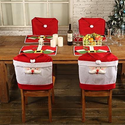 Yorbay – 4 x Funda navideña para sillas y manteles Individuales Set Decoración de Navidad Papá