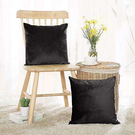 Deconovo Set di 2 Federe Cuscino Moderni per Divano Sedie in Velluto Elegante Fodere Decorativi 50x50cm Nero