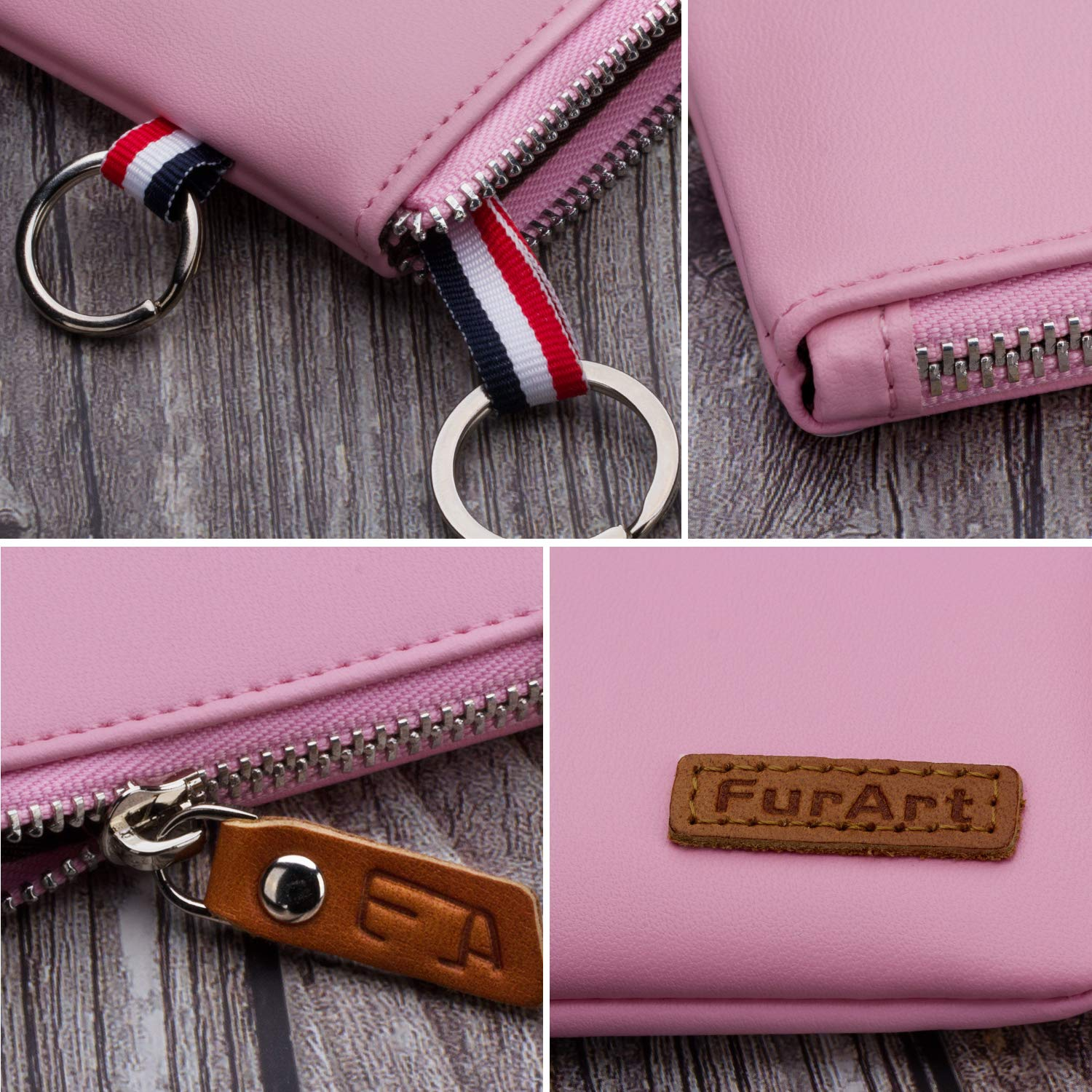 Soft Coin Pouch Mini Size Dual Rings Change Purse with Zipper Inner Pocket FurArt Genuine Leather Coin Purse