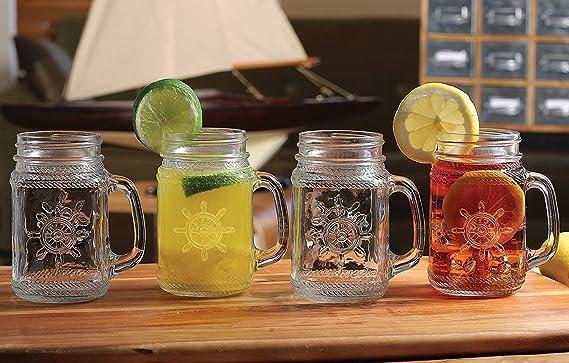 Circleware Yorkshire Mason náuticas rueda tarro de cristal tazas, 17 onzas, juego de 4, edición limitada cristal vaso bebida tazas/refrigeradores: ...