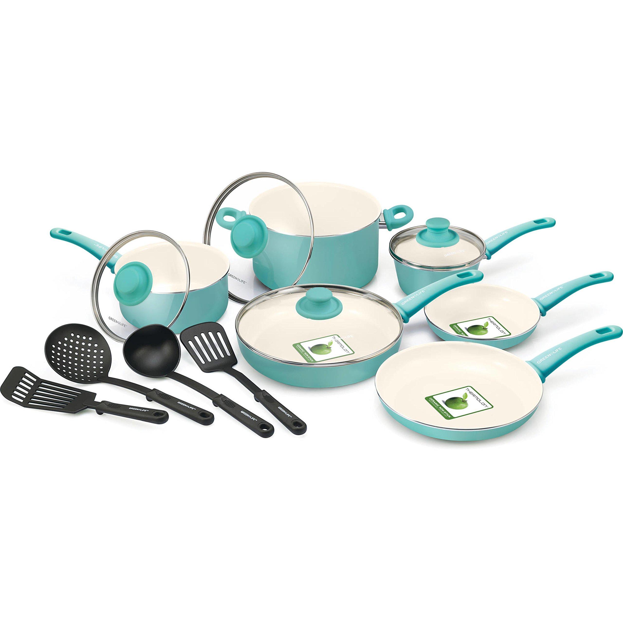 14-Piece Turquoise Ceramic Thermolon Non-Stick Ergonomic Handles Cookware Set