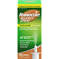 Rhinocort Allergy Nasal Spray With Budesonide Allergy Medicine, Non-Drowsy 24 Hour Relief, Prescription Strength Indoor And Outdoor Allergy Relief, Scent-Free And Alcohol-Free, 60 Sprays