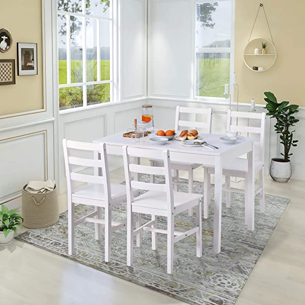 5Pcs Dining Set, Modern Dining Table and Chairs Set of 4 Solid Pine Kitchen Table and Chairs Set Room Furniture 1 Table+4 Chairs (White)