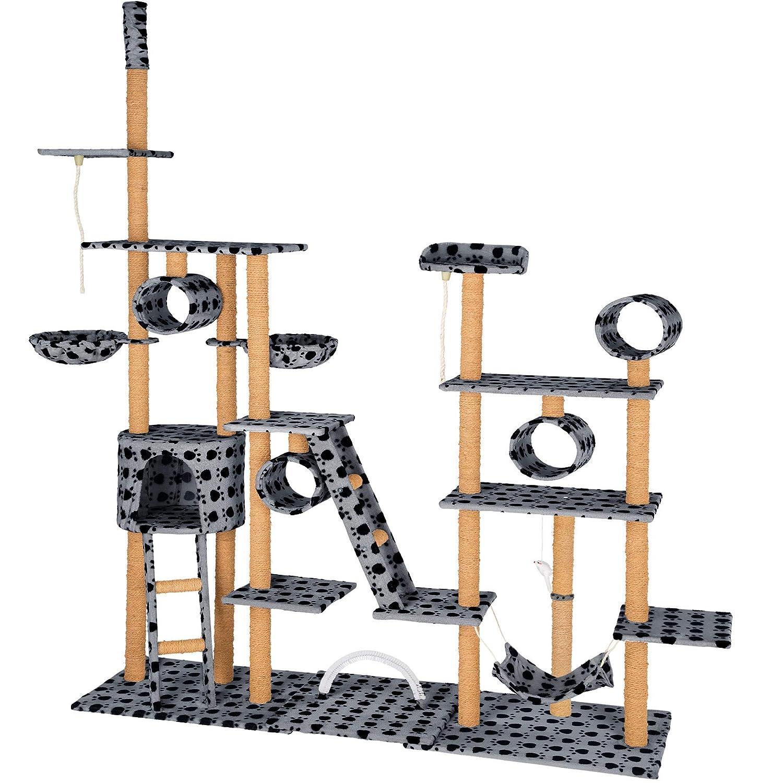 TecTake Albero tiragraffi per gatti   4 cilindri   2 cuccette   218 x 70 x 234 – 261 cm - disponibile in diversi colorei - (Grigio con zampe   No. 402743)