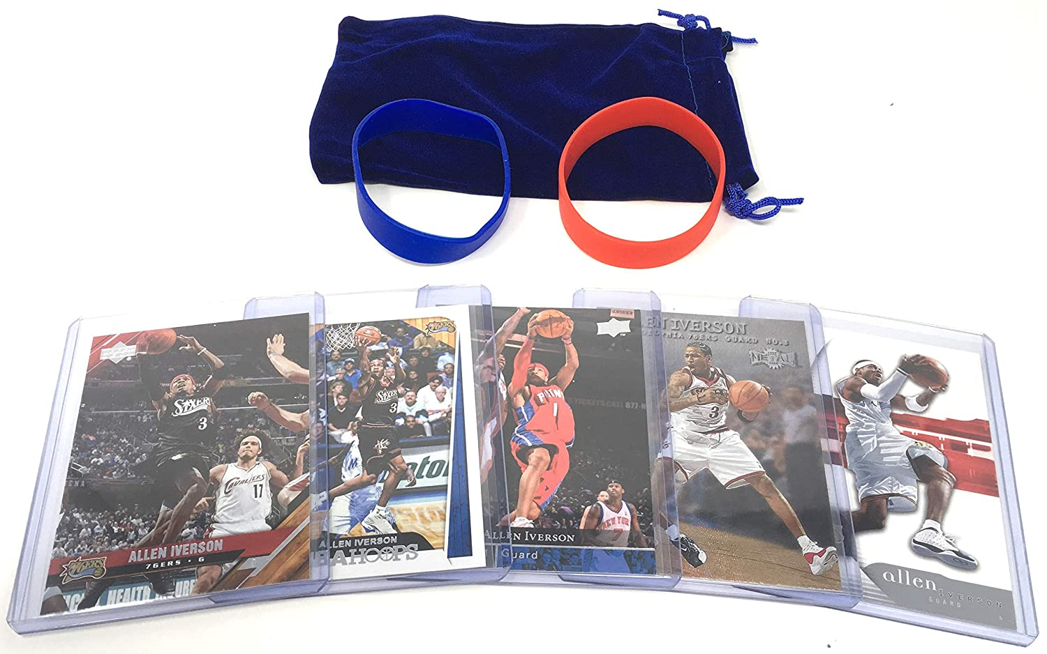 Allen Iverson Basketball Cards Assorted (5) Bundle - Philadelphia 76ers Trading Card Gift Pack Panini Hoops Topps