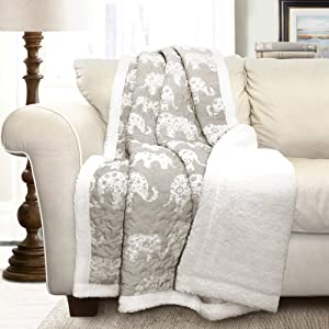 "Lush Decor Elephant Parade Throw Fuzzy Reversible Sherpa Blanket, 60"" x 50"", Gray and White"