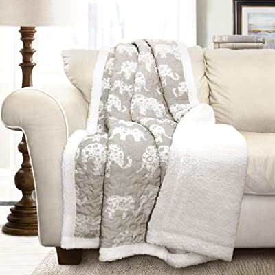 Lush Decor Elephant Parade Throw Fuzzy Reversible Sherpa Blanket