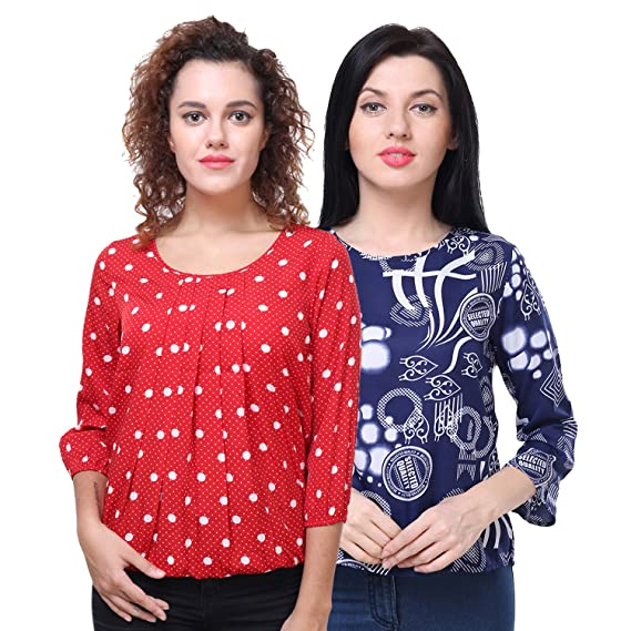 90986309516fec Deewa Red   Blue Polyester Crepe Printed Top for Women (Set of 2)  Amazon.in   Clothing   Accessories