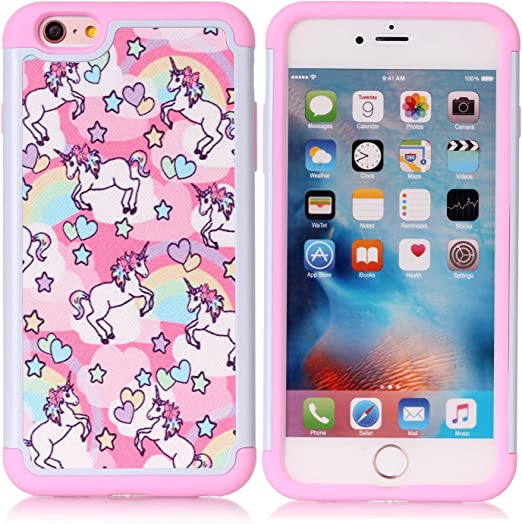 iPhone 6S Plus Case, Rainbow Unicorn Patchwork Pattern Shock-Absorption Hard PC and Inner Silicone Hybrid Dual Layer Armor Defender Protective Case ...