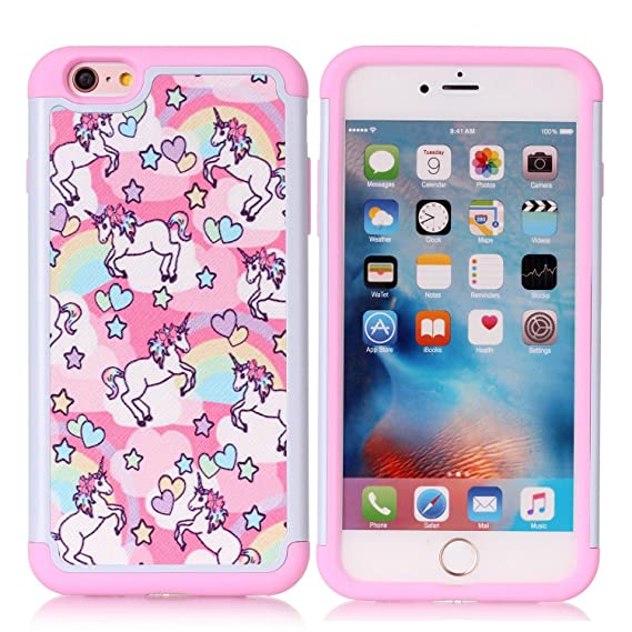 new arrival 884e7 44a98 iPhone 6S Plus Case, Rainbow Unicorn Patchwork Pattern Shock-Absorption  Hard PC and Inner Silicone Hybrid Dual Layer Armor Defender Protective Case  ...