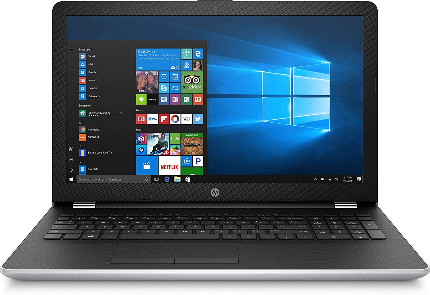 "HP 15.6"" HD Intel i3-7100U 4GB RAM 1TB HDD USB 3.1 Windows 10 Silver Laptop Computer"
