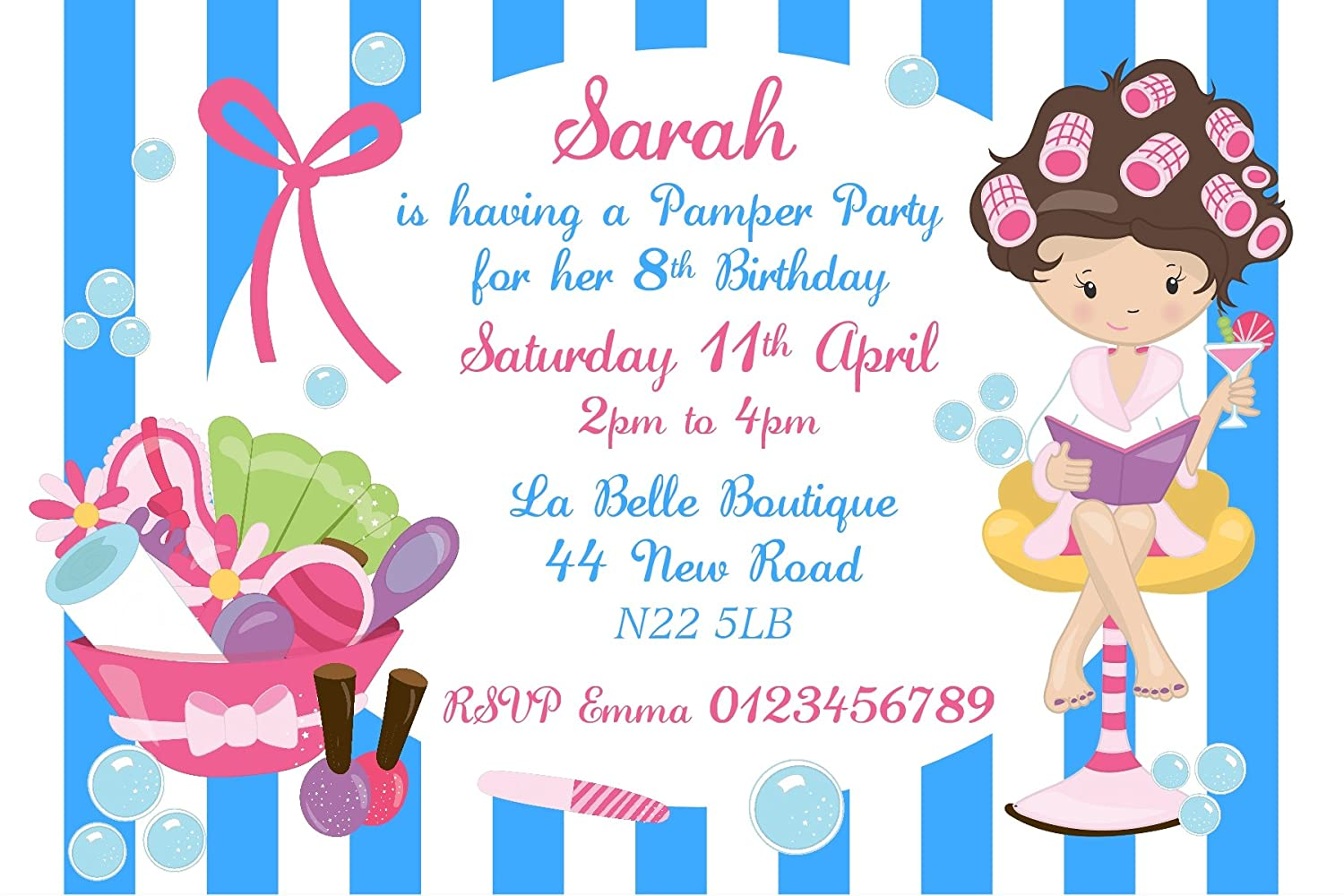 Personalised Birthday Pamper Party Invitations x10: Amazon.co.uk ...