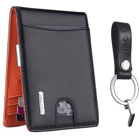 WinCret Cartera Hombre - Bloqueo RFID Clip de Dinero Cuero Cartera con Monedero y Bolsillo de