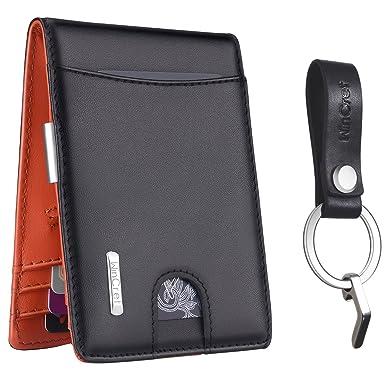 62038264e00f WinCret 本革 財布 二つ折り財布 - 財布 メンズ 大容量 マネークリップ財布 RFIDブロッキング
