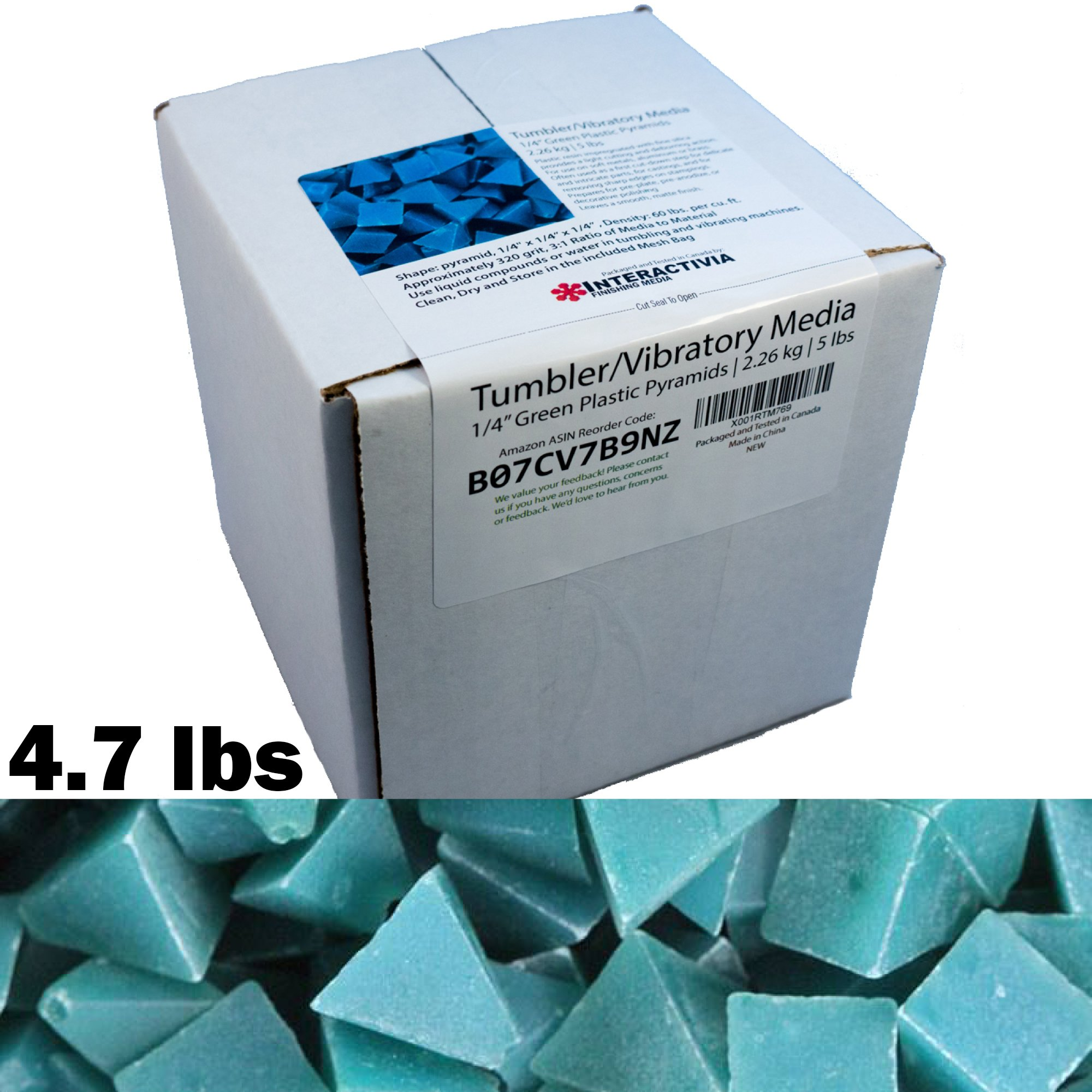 1/4 inch Green Plastic Resin Pyramid (Approx 320 grit) Tumbling Or Vibratory Media 4.7 lbs/2.1 kg | Includes a (Clean, Dry and Store) Mesh Bag | for use in Vibrating Tumbler Or Rotating Tumblers
