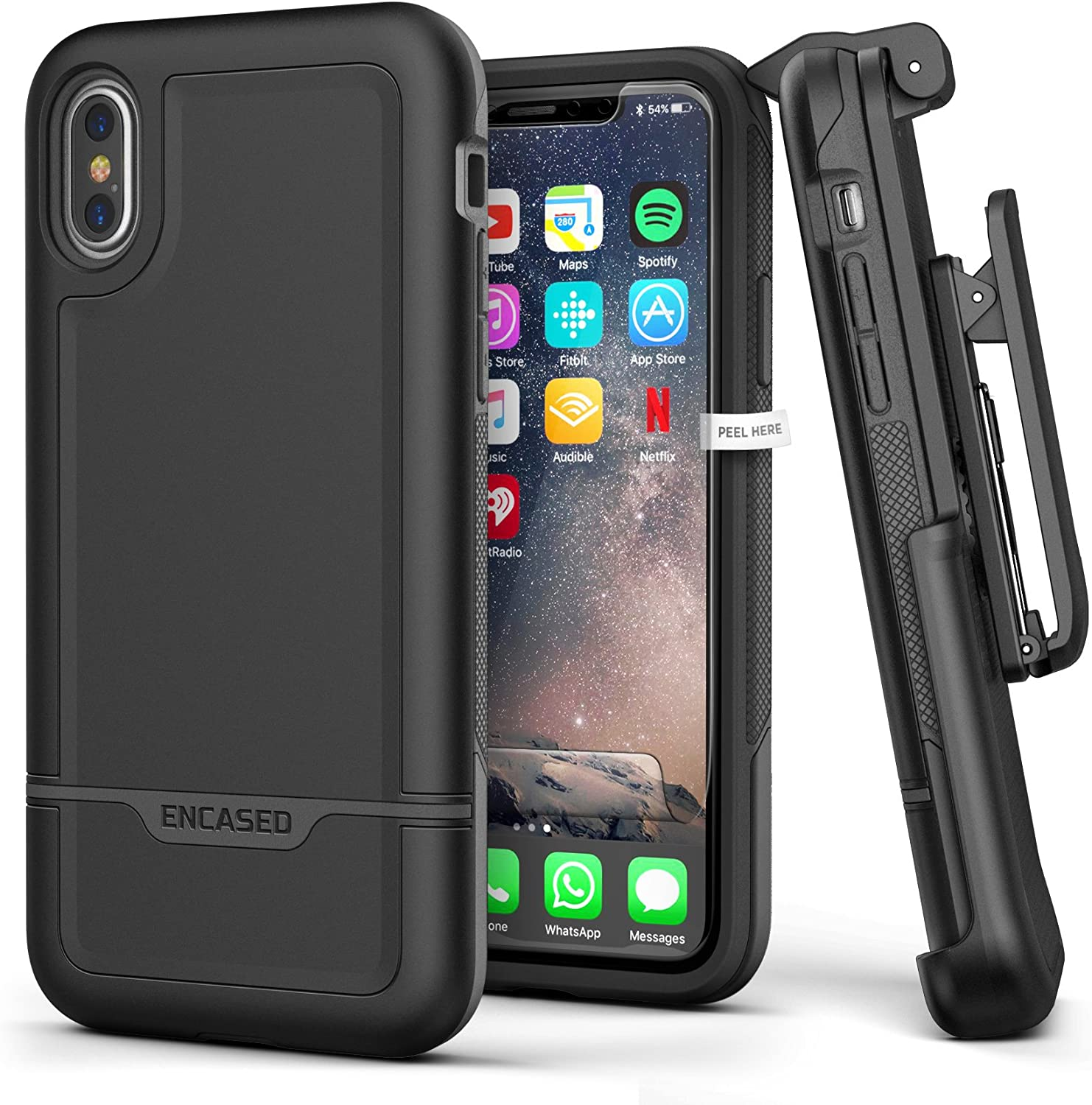 """Heavy Duty iPhone Xs Case Belt Clip Holster - Encased Black Protective Hybrid Cover (Rebel Armor) Designed for Apple iPhone X/iPhone Xs (5.8"""")"""