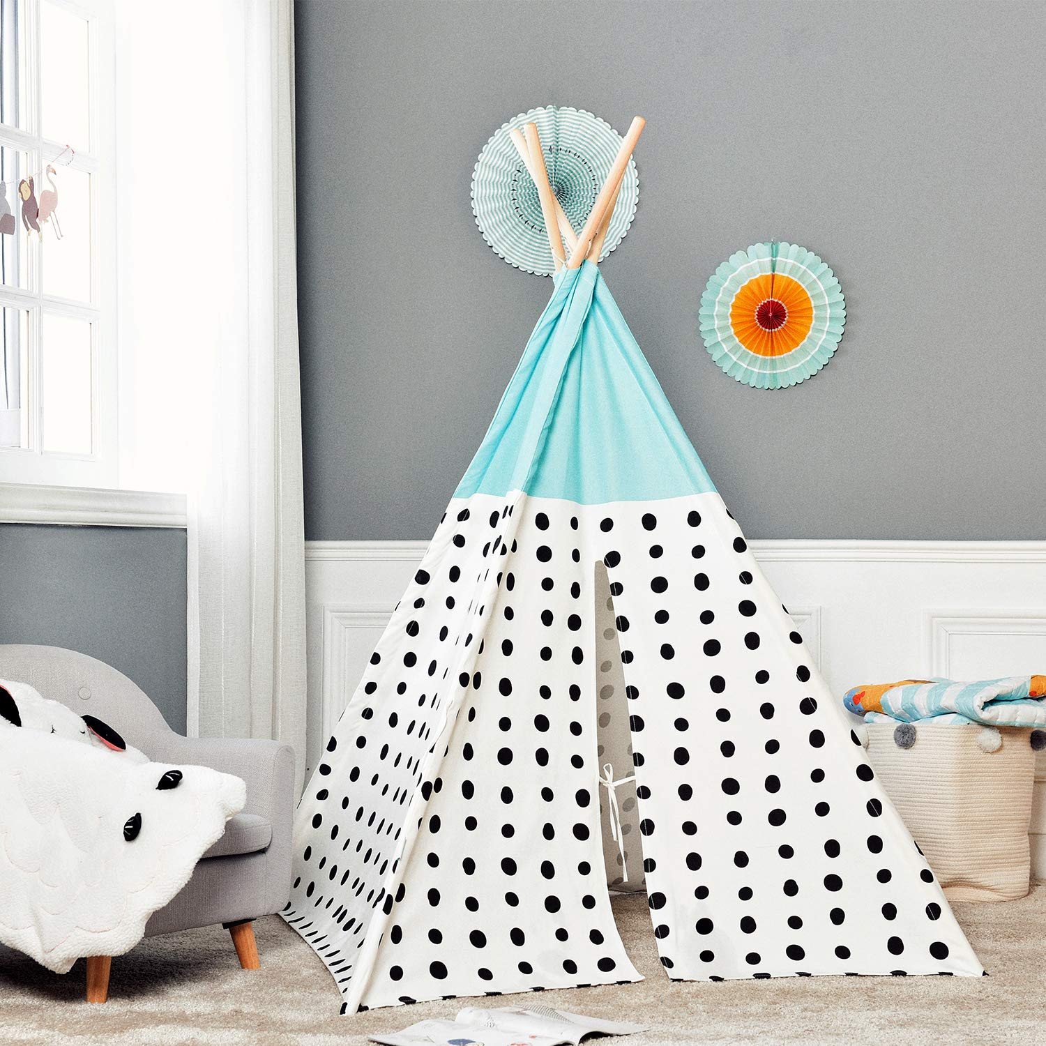 Asweets Teepee Tent for Kids Teepee Play Tent Mat for Boys Indoor Outdoor Play House Tent Indian Canvas Tipi Tent Blue Top Black Point by Asweets (Image #6)